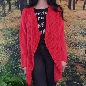 Bright red chico's red cardigan.